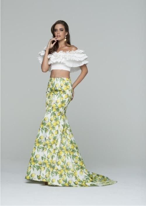 Two-Piece Mermaid Dresses With Floral Prints