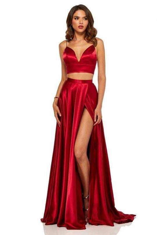 All Red Two-Piece Dresses with Plunging V Necklines
